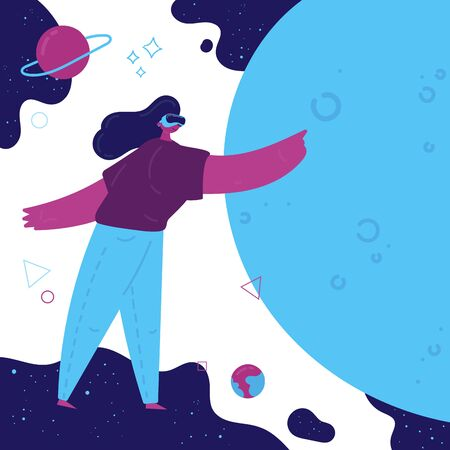 Virtual reality concept.Enthusiastic young girl uses virtual reality goggles and gets into space.Space simulator for the study of astronomy.Using virtual reality for education.Future technology.Vector