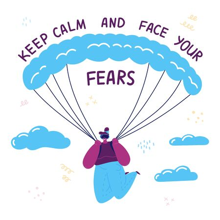 VR.The young girl overcomes her fears in virtual reality by wearing virtual reality goggles and paragliding.Keep calm and face your fear text.Modern technologies to overcome the fear of heights.Vector Ilustração