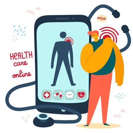 Medical help online.Man seek the advice of an app for health monitoring because of back pain.Treatment tips in your phone app.Health care app for your phone.Vector illustration.Flat Banco de Imagens - 129795863
