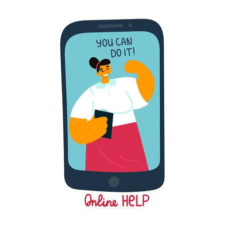 A young woman coaches an online session via video. A woman with a folder leads a coaching session on her channel.Online help in complex and emergency situations. Text You can do it.Vector illustration
