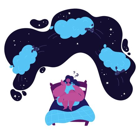 young woman with insomnia sits on a bed and counts the sheep jumping over her in the starry sky.Woman suffering from insomnia.Girl thinks how to sleep and counts sheep.Vector illustration