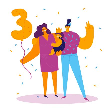 Homosexual female lgbt family.Two moms with daughter celebrate birthday.Gay couple with child. Two women with baby.Non-traditional family.Girl celebrating her third birthday.Gay parents.Vector
