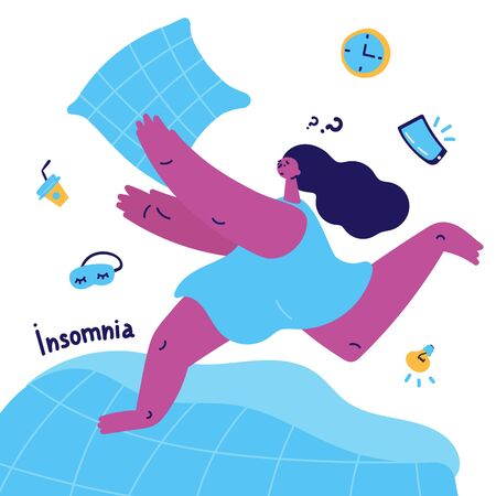 young woman with insomnia runs on the bed and catches a pillow.Woman suffering from insomnia.Girl thinks how to solve her problems and fall asleep.Vector illustration