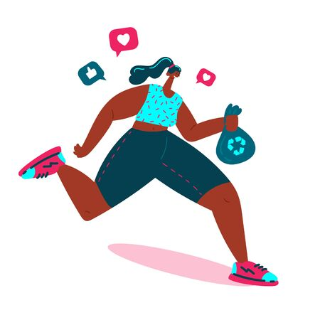 Plogging.Young women pick up litter during plogging in nature.She collect garbage while running.Girl is plugging and getting likes.Eco and environment friendly ecological concept.Vector illustration. Ilustração