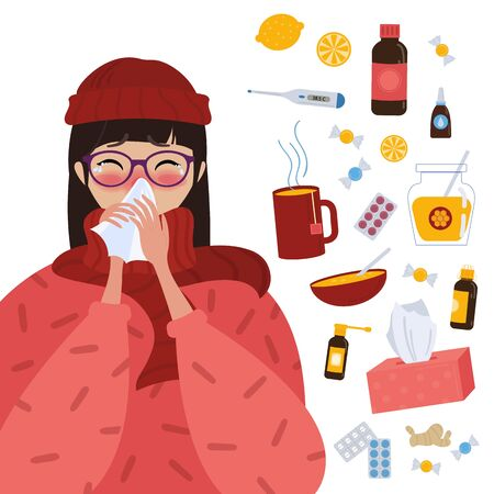 Young girl in glasses and red hat caught cold flu or virus. With red nose, high temperature and holds handkerchief.Ways to treat illness in a circle around. Vector isolated objects on white background