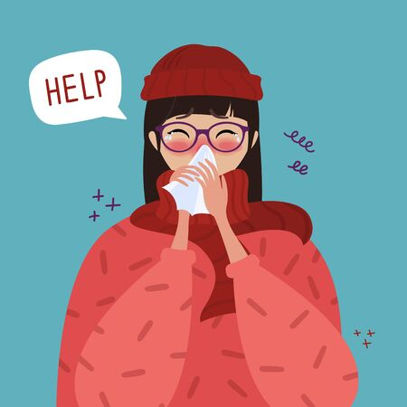 Young girl in red hat caught cold flu or virus. With red nose, high temperature and holds handkerchief. Help speech bubble. Vector isolated objects on blu background Stock Illustratie