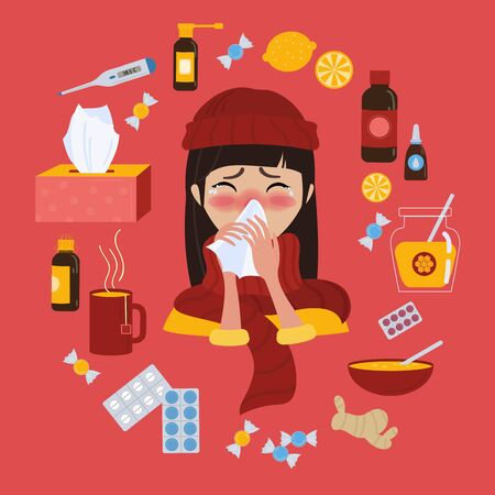 Young girl in red hat caught cold flu or virus. With red nose, high temperature and holds handkerchief. Ways to treat illness in a circle around. Vector isolated objects on red background