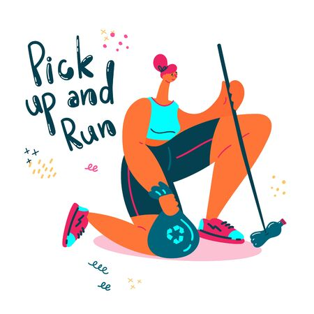 Plogging. Young women pick up litter during plogging in nature.She collect garbage while running. Eco and environment friendly ecological concept.Flat.Vector illustration.Pick up and run