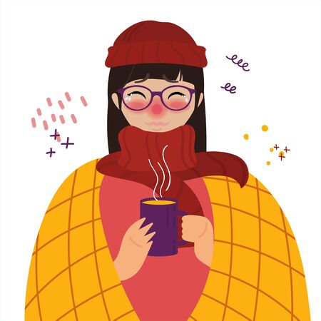 Young girl in glasses and red hat caught cold flu or virus. With red nose, high temperature and holds cup of tea. Vector isolated objects on white background