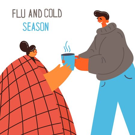 Young girl with blanket caught cold flu or virus.The guy gives tea to his girl caught cold or flu. Care for a sick partner.With high temperature and hold cap of hot tea.Vector.Flu and cold season. Stock Illustratie
