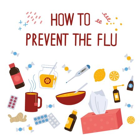 How to prevent the flu concept.Caught cold flu or virus. Ways to treat illness around. Vector isolated objects on white background. Flu treatment object. 写真素材 - 131898191