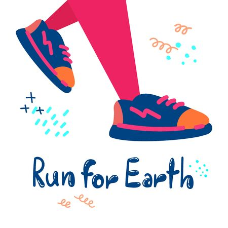 Plogging in nature.Collect garbage while running. Eco and environment friendly ecological concept. Run for Earth.Flat. Banner. Vector illustration. 일러스트