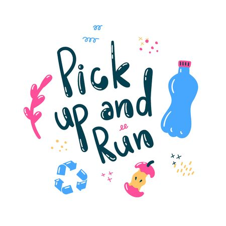 Plogging in nature.Collect garbage while running.Eco and environment friendly ecological concept.Pick up and run text lettering.Flat.Vector illustration.