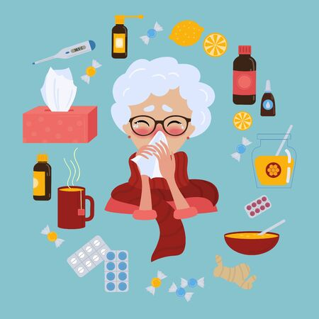 Old lady in glasses caught cold flu or virus. With red nose, high temperature and holds handkerchief. Ways to treat illness in a circle around. Vector isolated objects on blue background