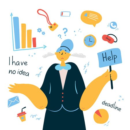Emotional burnout woman is standing with a sign Help.Tired and exasperated office worker does not know what to do among documents and office supplies.Stress at work.Vector illustration Stock Illustratie