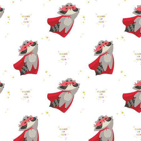 Cute raccoon in superhero costume in different poses.You are my hero text. Animal with extraordinary flying abilities wear mask of a hero and red cloak.Flat vector illustration.Pattern