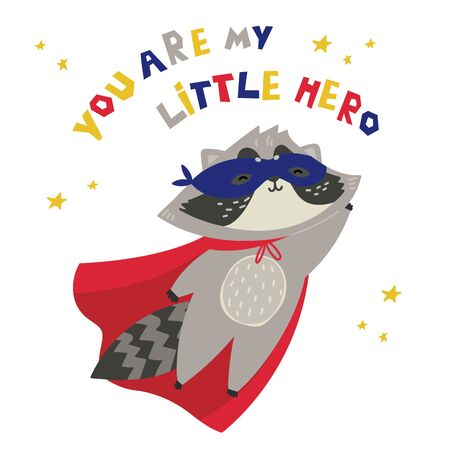 Cute raccoon in superhero costume. You are my little hero text. Animal with extraordinary flying abilities wear mask of a hero and purple cloak. Flat vector illustration.Stars and abstract elements Çizim