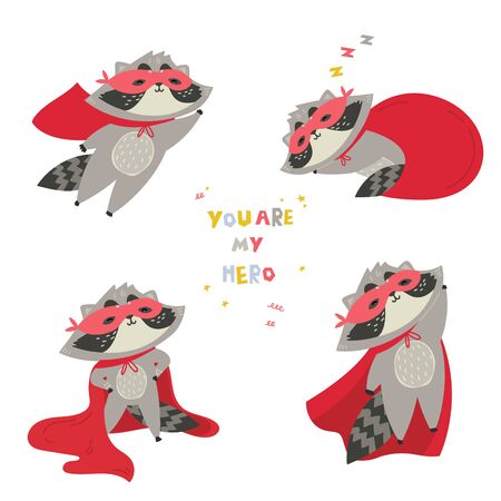 Cute raccoon in superhero costume in different poses.You are my hero text. Animal with extraordinary flying abilities wear mask of a hero and red cloak.Flat vector illustration.