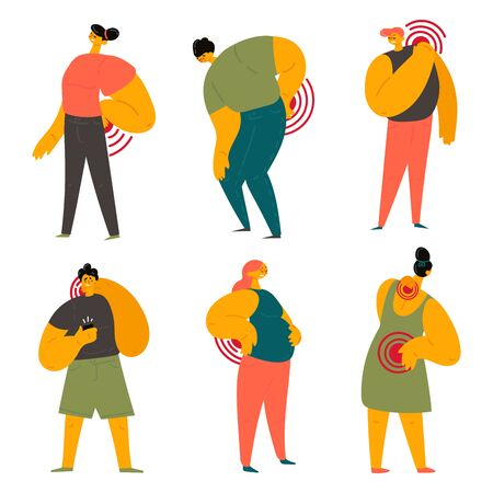 Women and men are holding on to the back and neck. Smartphone-related neck pain.Young people experience back and neck pain while using their phones. Back pain during pregnancy.Vector illustration