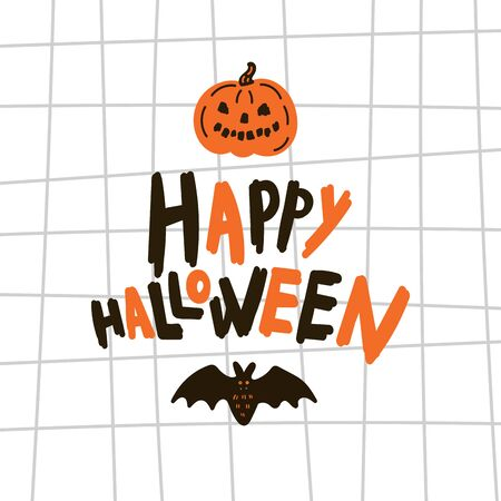 Greeting card with pumpkin.Halloween party invitations with handwritten calligraphy and notebook paper texture cell template.Happy Halloween text.Flat design.Vector.Poster with bets and text Ilustração