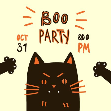 Halloween party invitations or greeting cards with handwritten calligraphy and traditional symbols.Poster with black cat.Vector illustration Ilustração