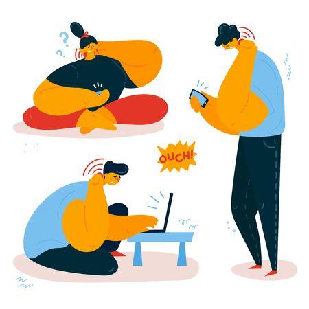 Las mujeres y los hombres se aferran a la espalda y al cuello. Dolor de cuello relacionado con el teléfono inteligente. Los jóvenes experimentan dolor de espalda y cuello mientras usan sus teléfonos y computadoras. Ilustración de vector de estilo plano Ilustración de vector