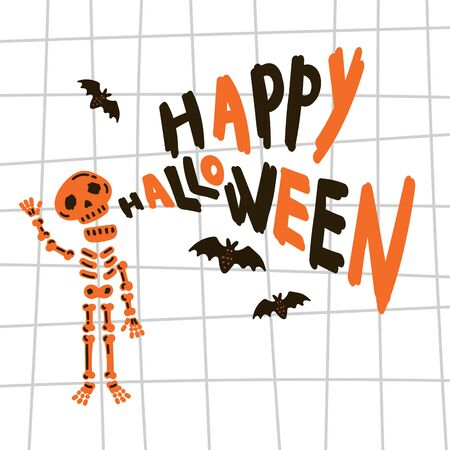 Greeting card with skeleton.Halloween party invitations with handwritten calligraphy and notebook paper texture cell template.Happy Halloween text.Flat design.Vector.Poster with skeleton and bets. Çizim