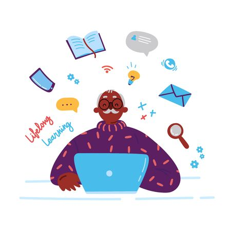 Lifelong learning,senior education.Older man studying with a laptop.Ability to learn in each human age.Senior man attending courses.Male student at a desk surrounded by study items.Vector Illustration