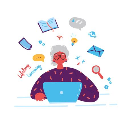 Lifelong learning, senior education.Older woman studying with a laptop.Ability to learn in each human age.Senior woman attending courses.Female student at a desk surrounded by study items.Illustration Çizim