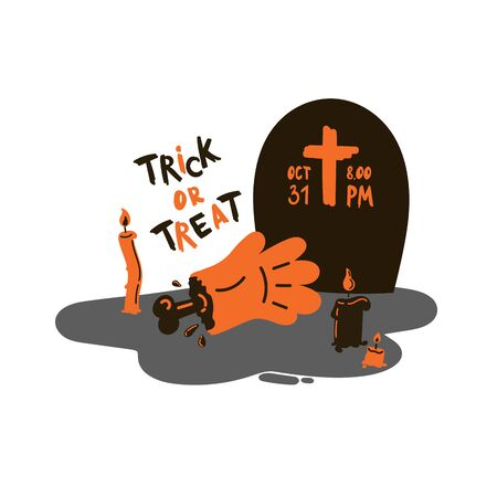 Greeting card with zombie hand with bone on a grave and a tombstone with candles.Halloween party invitations with handwritten calligraphy.Trick or treat text.Flat design.Vector.Poster or sticker