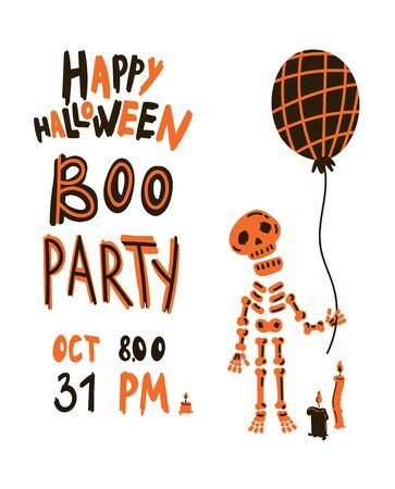 Halloween party invitations or greeting cards with handwritten calligraphy and traditional symbols.Poster with skeleton and balloon.Vector illustration Çizim