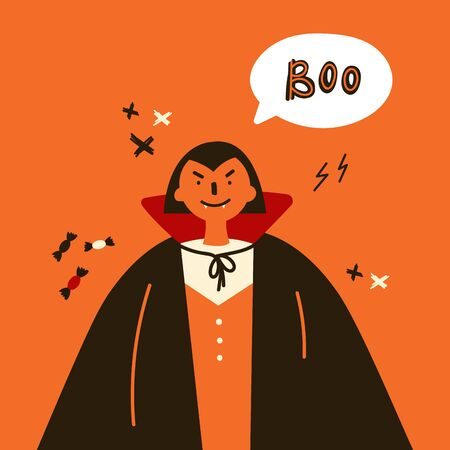 Greeting card with black vampire.Halloween party invitations with handwritten calligraphy and traditional symbols.Happy Halloween.Boo text.Flat design.Vector illustration.Poster with vampire in cloak. Çizim