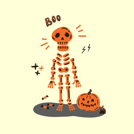 Greeting card with skeleton.Halloween party invitations with handwritten calligraphy and traditional symbols.Happy Halloween.Boo text.Flat design.Vector illustration.Poster with skeleton and pumpkin.