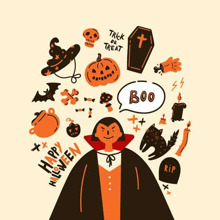 Collection of halloween icon and character.Happy Halloween hand drawn illustrations and elements.Halloween design elements, logos, symbol,icons and objects.Set pumpkin, ghost, cat, bat.Flat, vector