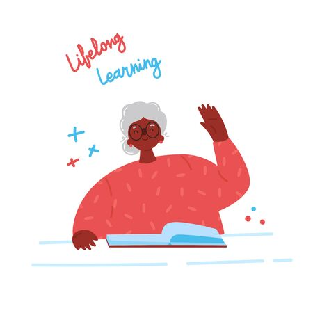 Lifelong learning, senior education.Older woman studying with a book.Ability to learn in each human age.Senior African American woman attending courses.Female student raises her hand to ask questions.