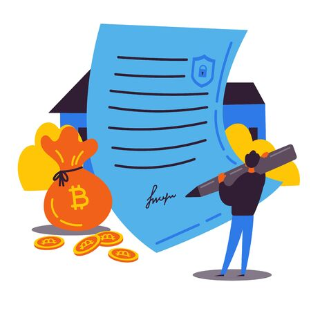 Block chain contract.Buying a house through a smart contract.Man holds a pen and signs a smart contract to buy a house.An innovative contract.Payment by bitcoins.Vector illustration