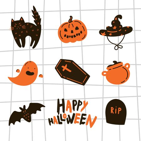 Collection of halloween icon and character.Happy Halloween hand drawn illustrations and elements.Halloween design elements, logos, symbol,icons and objects.Set pumpkin,skeleton, bat.Flat, vector Çizim
