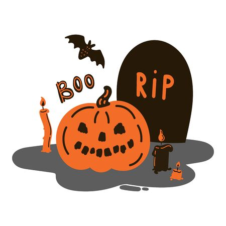 Greeting card with pumpkin on a grave and a tombstone with candles and bat.Halloween party invitations with handwritten calligraphy.Boo text.Flat design.Vector.Poster or sticker  Çizim