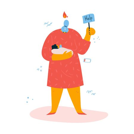 Emotional burnout woman is standing with a sign Help with baby in hands.Tired and exasperated woman in despair with fire over her head.Postpartum depression.Stress at home.Burnout concept.Vector  Ilustração