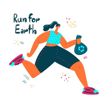 Plogging. Young women pick up litter during plogging in nature.She collect garbage while running. Eco and environment friendly ecological concept. Flat. Vector illustration.Run for Earth.