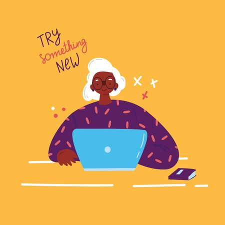 Lifelong learning,senior education.Older woman studying with a laptop.Ability to learn in each human age.Senior woman attending courses.Female African American student at the table.Vector illustration