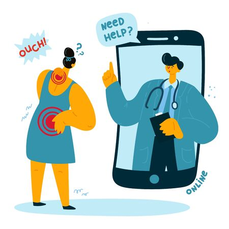 The woman asks the online doctor for help because she has a back and neck pain. Online doctor consults the patient. Smartphone-related neck pain. Vector illustration Çizim
