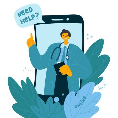 Online consultation with a doctor in smartphone. Online doctor consults the patient.Alternative treatment. A smiling doctor is ready to help. Mobile app. Vector illustration
