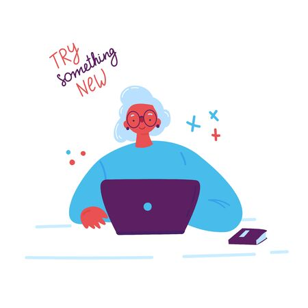Lifelong learning, senior education.Older woman studying with a laptop.Ability to learn in each human age.Senior woman attending courses.Female student at the table.Vector illustration