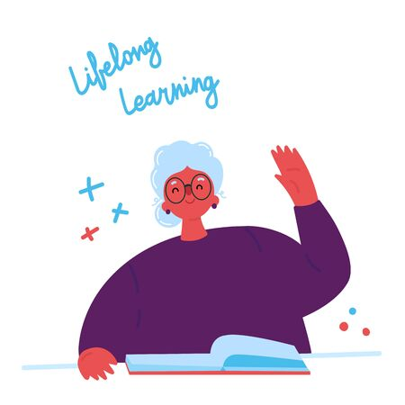 Lifelong learning, senior education.Older woman studying with a book.Ability to learn in each human age.Senior woman attending courses.Female student raises her hand to ask questions.