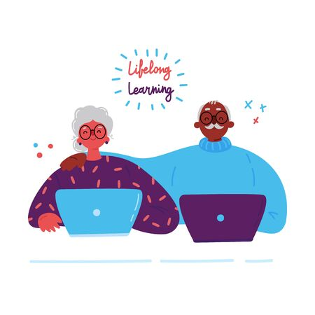 Lifelong learning,senior education.Older couple studying with a laptop.Ability to learn in each human age.Senior people attending courses.Male and female student at the table.Vector illustration