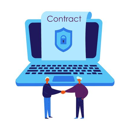 Smart contract concept.Conclude a blockchain contract via laptop.Two man conclude electronic contract with security lock.Two man agreed and shake hands.Vector Illustration flat.