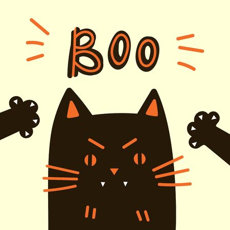 Greeting card with black cat.Halloween party invitations or greeting cards with handwritten calligraphy and traditional symbols. Happy Halloween.Boo text.Flat design.Vector illustration Çizim