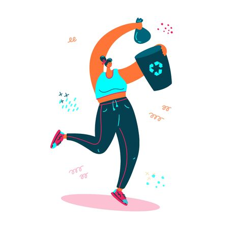 Plogging. Young women pick up litter during plogging in nature.She collect garbage while running and throws it in the bin. Eco and environment friendly ecological concept. Flat. Vector illustration.