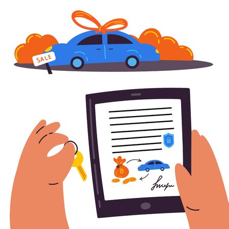 Blockchain contract.Buying a car through a smart contract.Man holds a tablet with a blockchain contract for the purchase of a car in one hand, and in the other a car key.An innovative contract.Vector